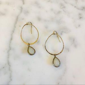 ANTHROPOLOGIE Hammered Gold Hoop Stone Earrings